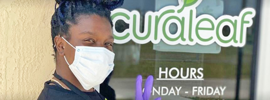 Staff Member Outside of Curaleaf's South Miami Dade Dispensary - Credit: Curaleaf